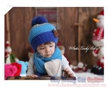 Bộ khăn mũ len cho bé Hàn Quốc