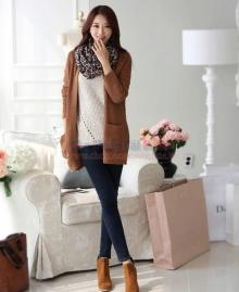 Áo len khoác ngoài dáng dài